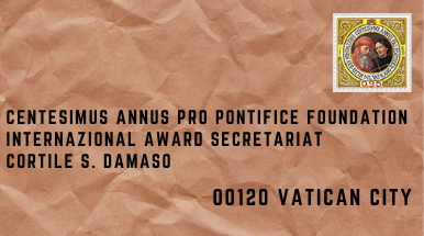 Light brown envelop with stamp of the Centesimus Annus Pro Pontifice Foundation