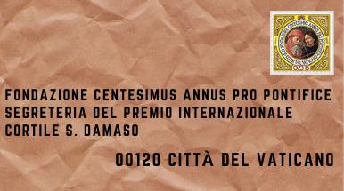 Busta da lettera con francobollo della Fondazione Centesimus Annus Pro Pontifice Segreteria del Premio Internazionale Cortile S. Damaso 00120 Città del Vaticano